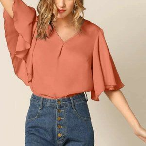 Tops - Pink/Orange V Cut Blouse in XS, S, M, L
